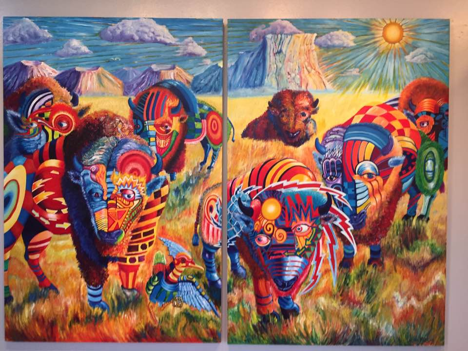 """A Pinnacle for Now"" 6'x8' Acrylic on wood Diptych 2015"